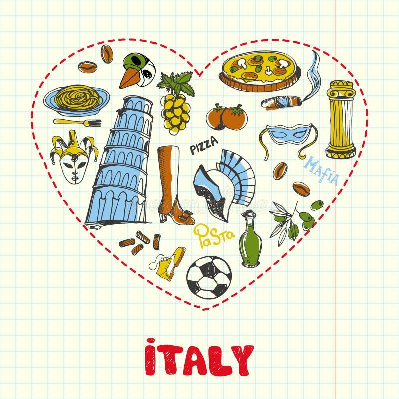Itália Pen Drawn Doodles Vetora Collection ilustração royalty free