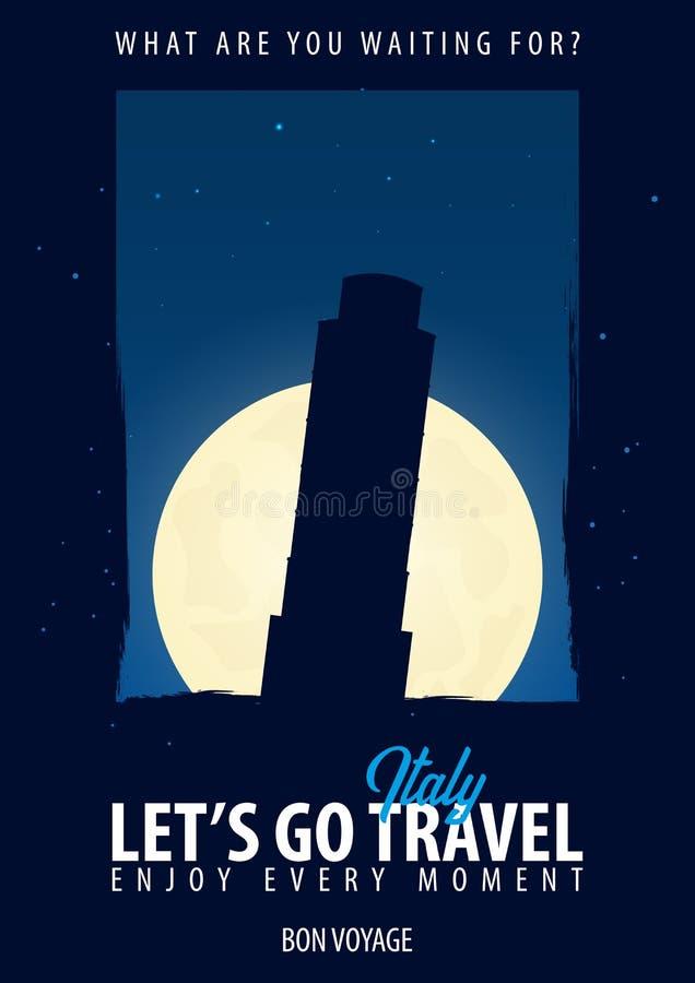 Itália, Roma Hora de viajar Viagem, viagem, férias Fundo da lua Bon Voyage ilustração stock