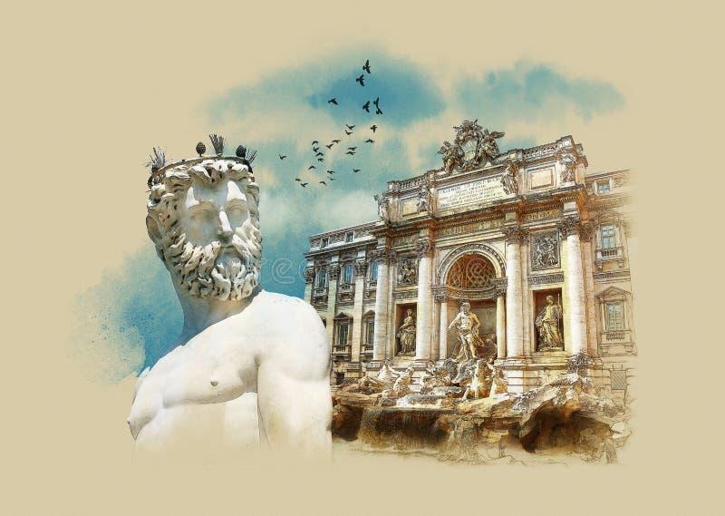 Itália Sightseeing Estátua de Netuno, Florença, fonte do Trevi (Fontana di Trevi) em Roma Italy Esboço da aquarela ilustração stock