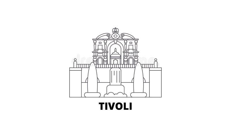 It?lia, Tivoli, linha grupo do este da casa de campo D ?da skyline do curso It?lia, Tivoli, ilustra??o do vetor da cidade do esbo ilustração stock