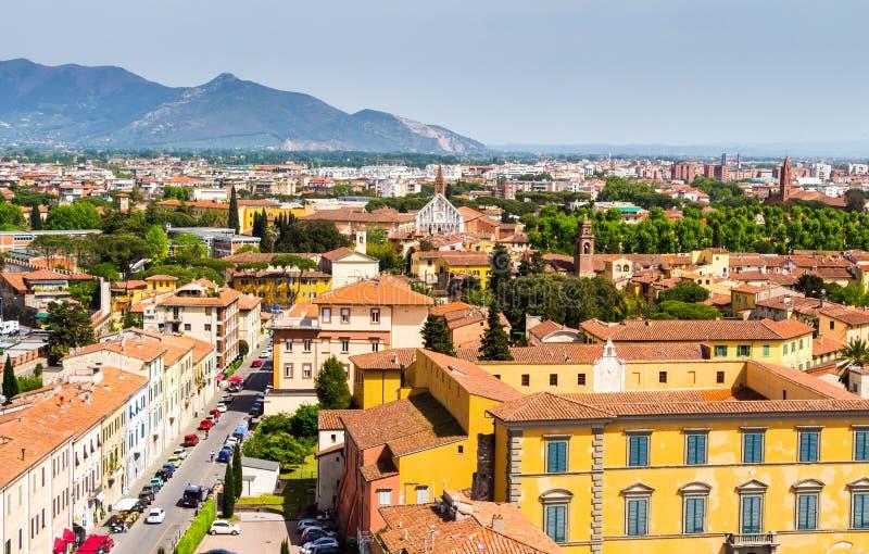 Itália: vista da cidade velha de Pisa da torre inclinada fotografia de stock