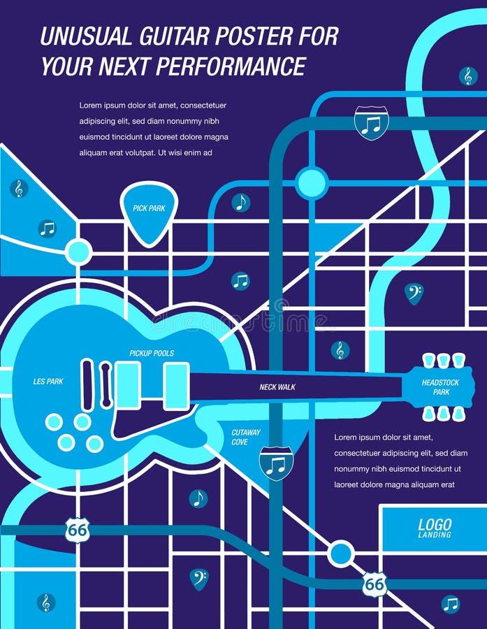 ¡It' un mapa! ¡It's un cartel! ¡It's una guitarra! ilustración del vector