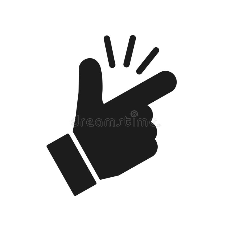 It's simple - finger snap icon in flat style. Easy icon. Finger snapping click flick hand gesture - vector. It's simple - finger snap icon in flat royalty free illustration