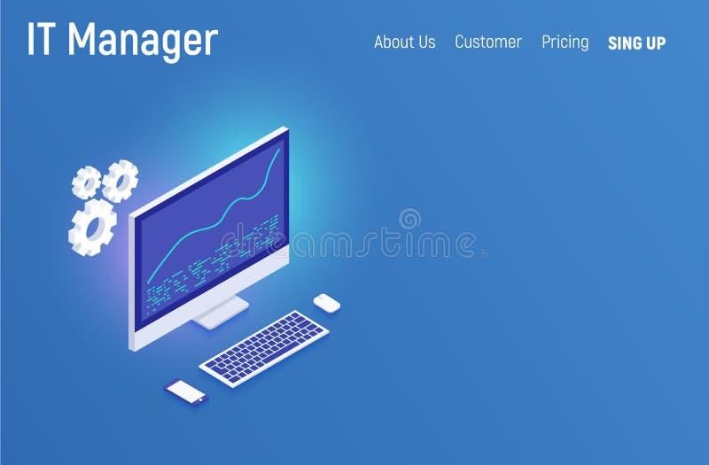 IT经理企业概念 现代等量设计网站infographics例证英雄图象网横幅铅印材料 Vec 皇族释放例证