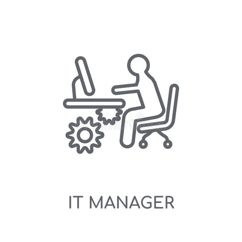 IT经理线性象 现代概述IT经理商标概念o 皇族释放例证