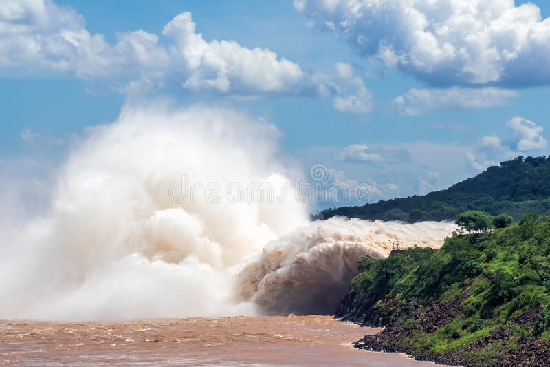 Itaipu Dam, on the Border of Brazil and Paraguay. Spillway at Itaipu Dam, on the border of Brazil and Paraguay stock images