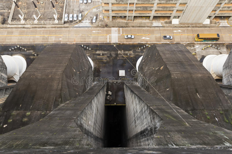 Itaipu dam top view. Itaipu binational hydroelectric powerplant dam top view stock photo