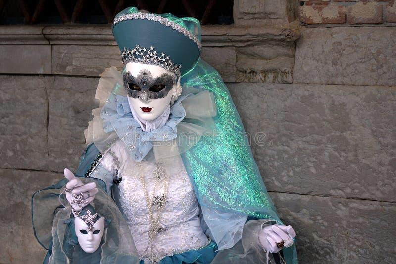 """Italië †""""Venezia - Carnaval - Blauw vriendelijk masker stock afbeelding"""