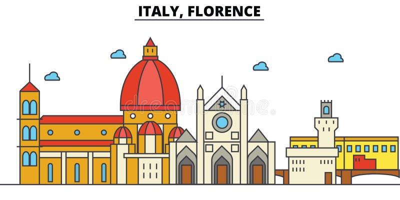 Italië, Florence De architectuur van de stadshorizon editable stock illustratie