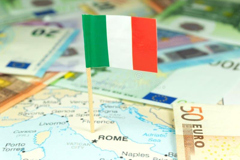 Italië, geld en kaart stock afbeeldingen