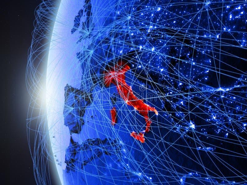 Italië op blauwe Aarde met netwerk vector illustratie