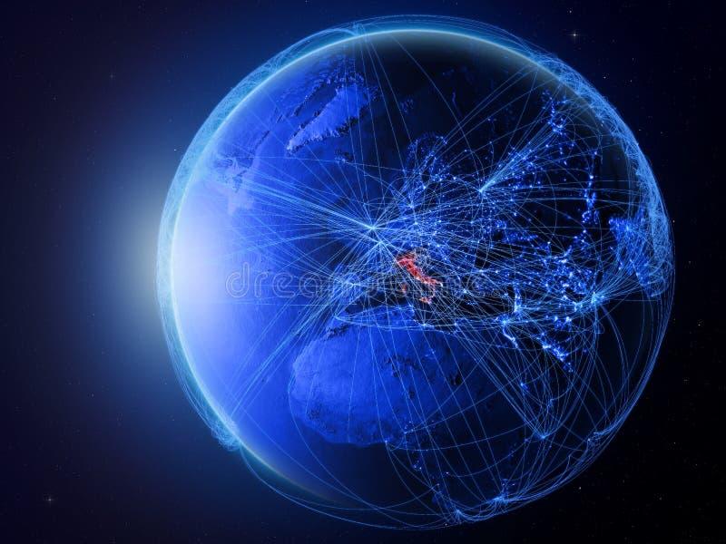 Italië op blauwe Aarde met netwerk royalty-vrije illustratie