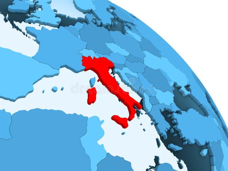 Italië op blauwe bol vector illustratie