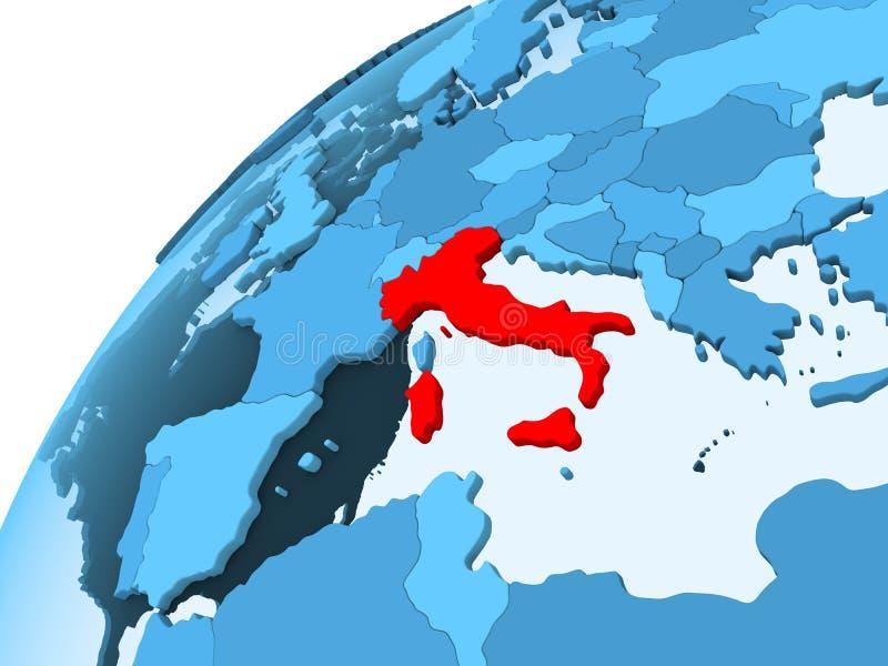 Italië op blauwe bol stock illustratie