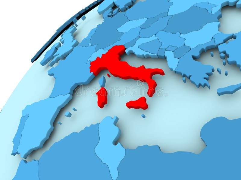 Italië op blauwe bol royalty-vrije illustratie