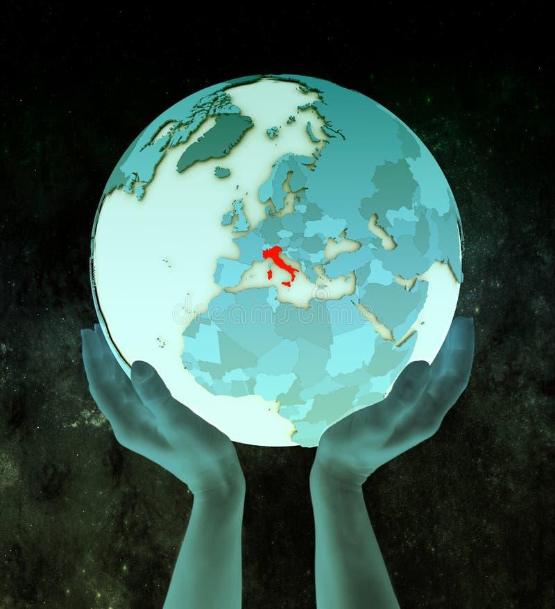 Italië op blauwe bol in handen stock illustratie