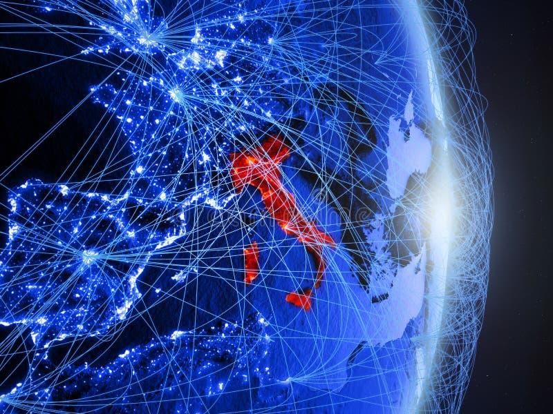 Italië op blauwe blauwe digitale Aarde royalty-vrije stock foto's