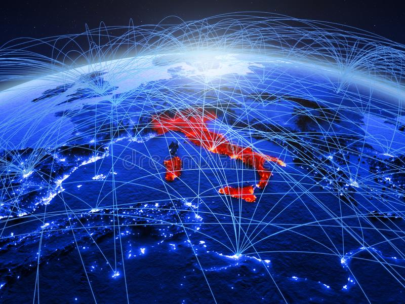 Italië op blauwe digitale aarde met internationaal netwerk die mededeling, reis en verbindingen vertegenwoordigen 3D Illustratie stock fotografie