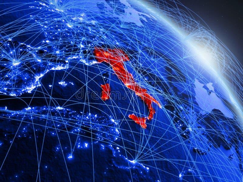 Italië op blauwe blauwe digitale bol stock illustratie