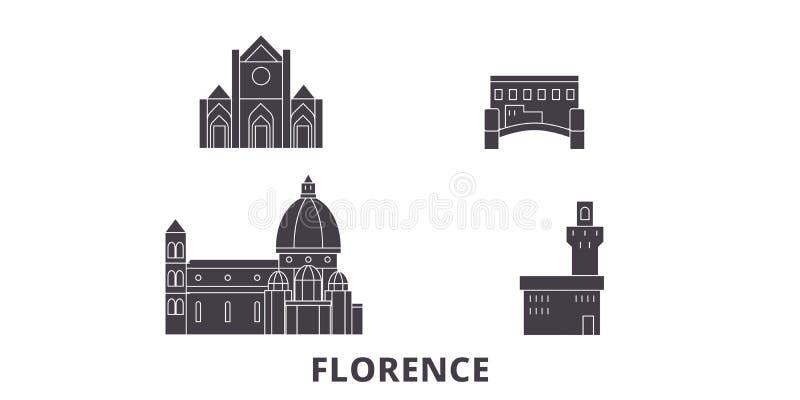 Italië, reeks van de de reishorizon van Florence City de vlakke Italië, zwarte de stads vectorillustratie van Florence City, symb stock illustratie