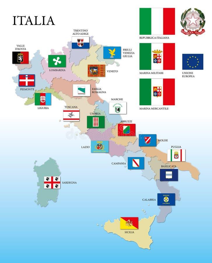 Italië, regionale vlaggen en kaart stock illustratie