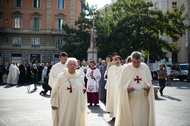 Italië-Rome - 7 September 2017 - viering van de bedevaart van stock fotografie