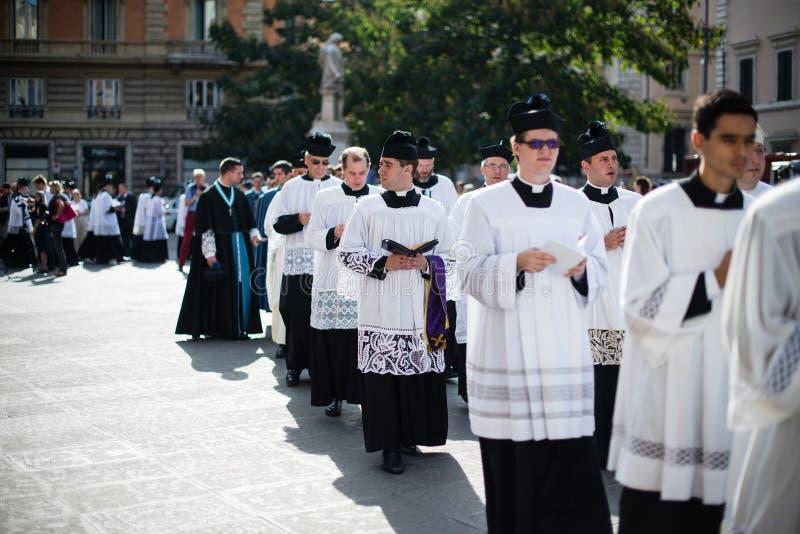 Italië-Rome - 7 September 2017 - viering van de bedevaart van stock foto's