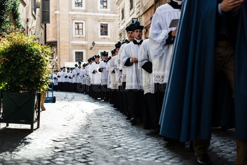 Italië-Rome - 7 September 2017 - viering van de bedevaart van royalty-vrije stock foto's
