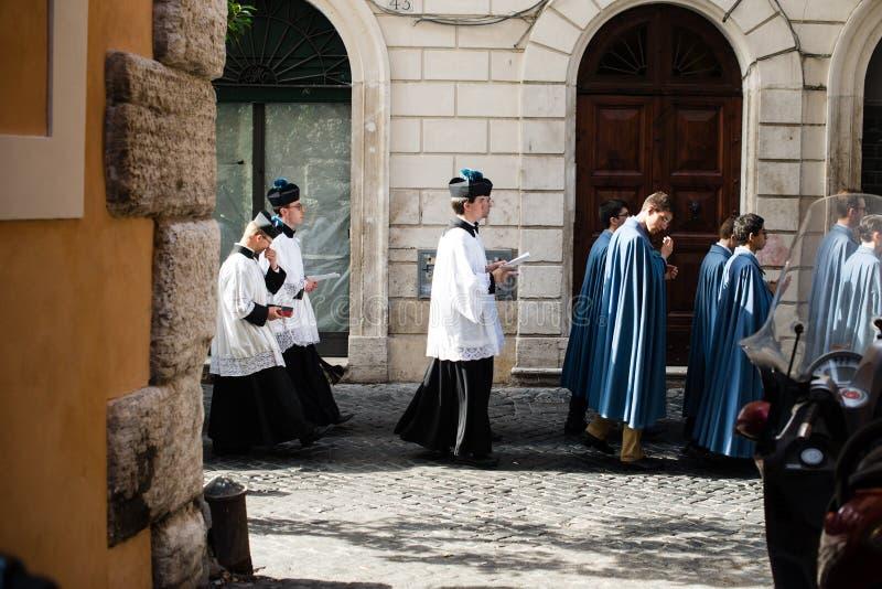 Italië-Rome - 7 September 2017 - viering van de bedevaart van royalty-vrije stock afbeeldingen