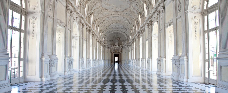 Italië - Royal Palace: Galleria Di Diana, Venaria royalty-vrije stock fotografie