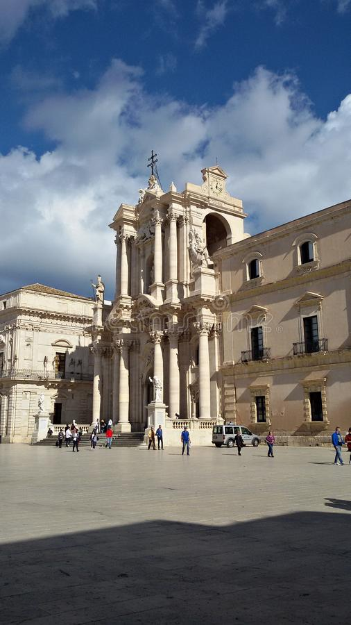 Italië, Sicilië, Trapan: De Kathedraalvierkant van Syracuse stock foto's