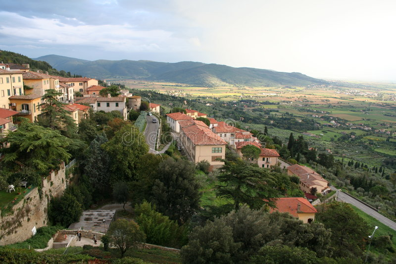 Italië. Toscanië. Panorama van Cortona royalty-vrije stock foto
