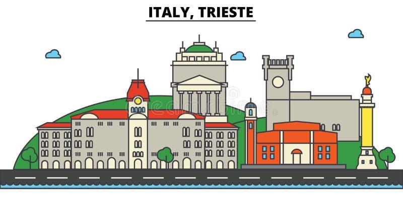 Italië, Triëst De architectuur van de stadshorizon editable royalty-vrije illustratie