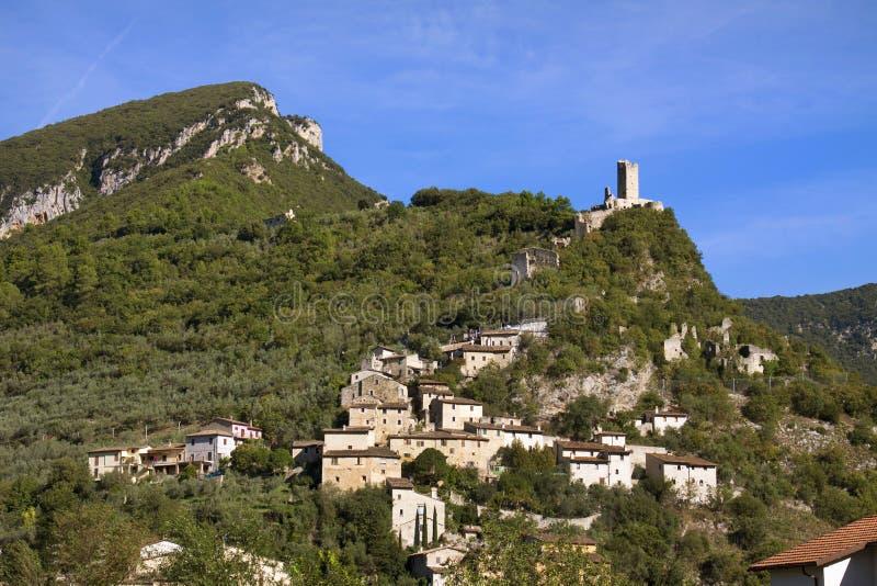 Italië, Umbrië, Ferentillo-dorp stock fotografie