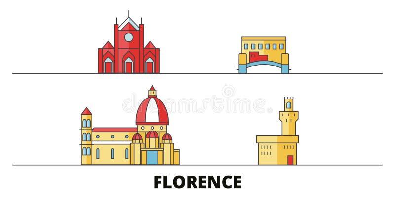 Italië, vlakke de oriëntatiepunten vectorillustratie van Florence City Italië, Florence City-lijnstad met beroemde reisgezichten royalty-vrije illustratie