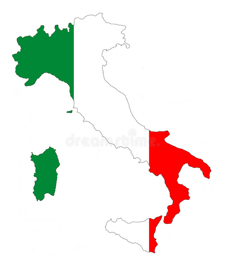 Italia. Map of Italy filled with its flag