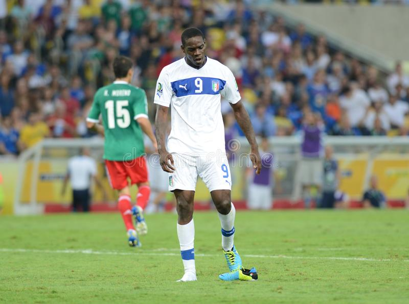 Italia Balotelli national team soccer player. Rio deJaneiro - Brazil  Italia Balotelli national team soccer player during match between Italia and Mexico at royalty free stock images