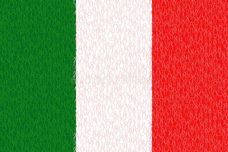 Italia, bandera con la gente del palillo, ciudadanos, gr?fico conceptual, muchedumbre de mujeres rojas y de ni?os blancos y verde stock de ilustración