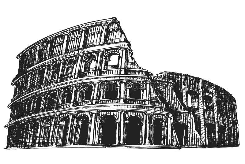 Italia Colosseum en un fondo blanco bosquejo libre illustration