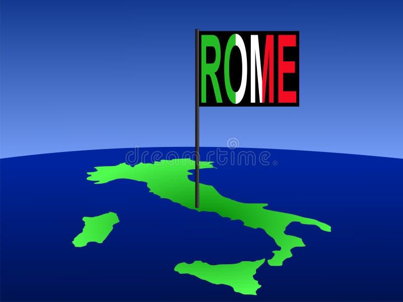 Italia con el indicador de Roma ilustración del vector