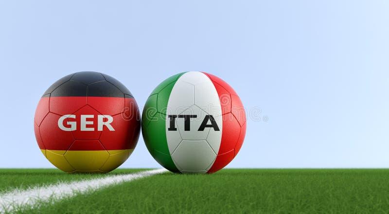 Italia contra Partido de fútbol de Alemania - balones de fútbol en los colores nacionales de Italia y de Alemania en un campo de  ilustración del vector