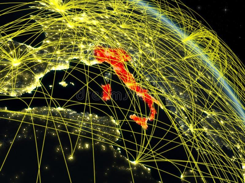 Italia del espacio con la red ilustración del vector