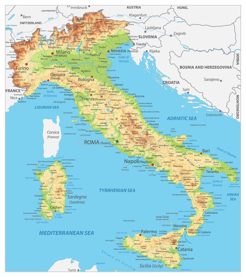 Italia detall? el mapa f?sico stock de ilustración