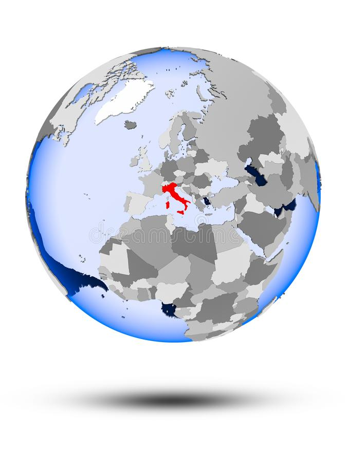 Italia en el globo stock de ilustración