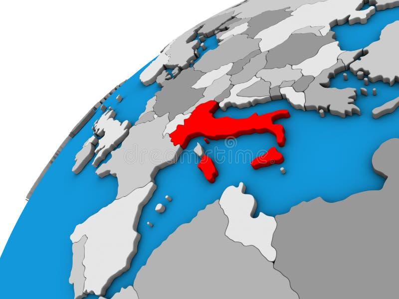 Italia en el globo 3D stock de ilustración