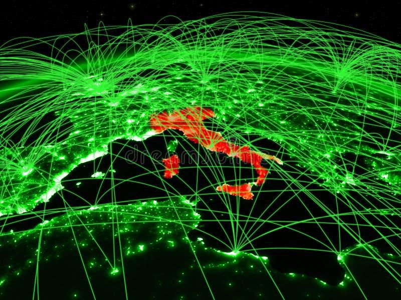 Italia en el globo verde stock de ilustración