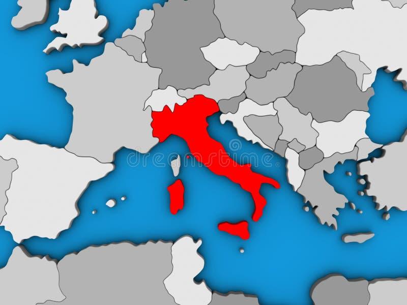 Italia en el mapa 3D stock de ilustración