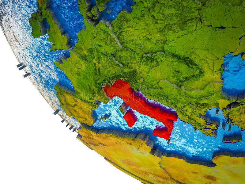 Italia en la tierra 3D ilustración del vector