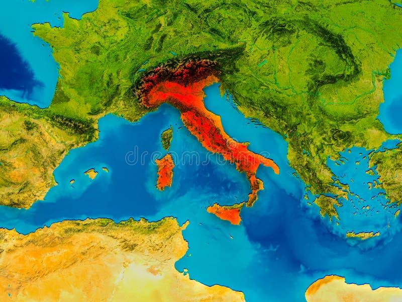 Italia en mapa físico stock de ilustración