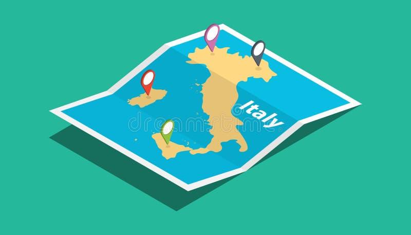 Italia explora mapas con estilo isométrico y fija la etiqueta de la ubicación en el top stock de ilustración